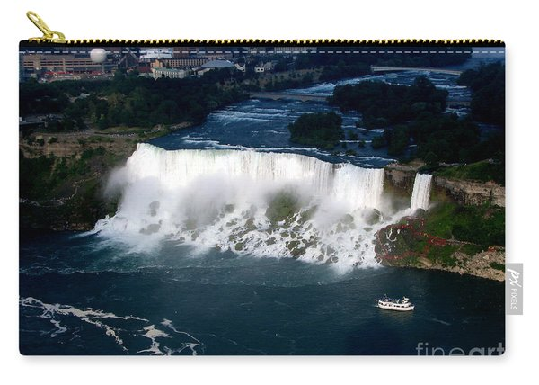 Aerial View Of Niagara Falls And River And Maid Of The Mist Carry-all Pouch