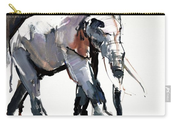 African Elephant, 2012, Mixed Media On Paper Carry-all Pouch