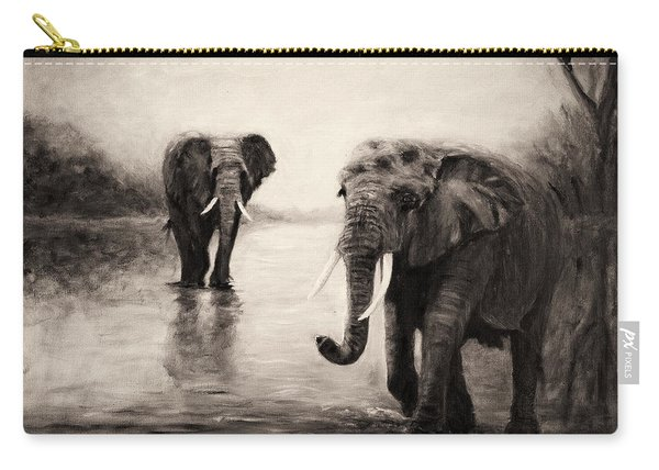 African Elephants At Sunset Carry-all Pouch