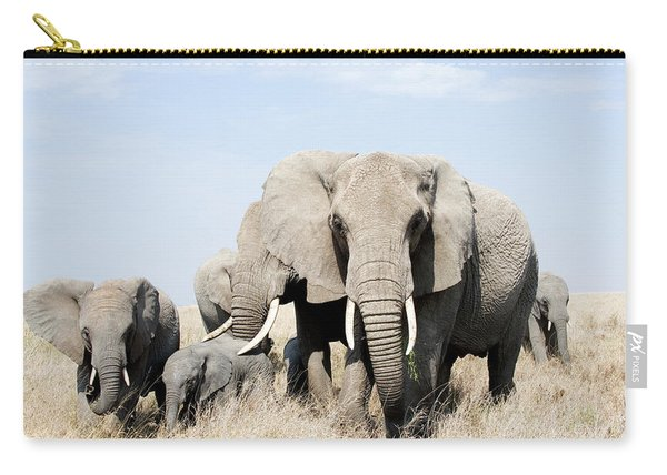 African Elephants In A Forest Carry-all Pouch