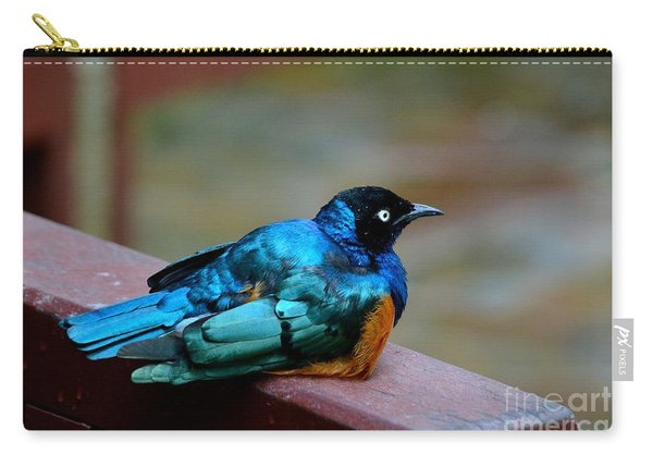 African Superb Starling Bird Rests On Wooden Beam Carry-all Pouch