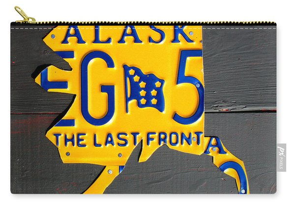 Alaska License Plate Map Artwork Carry-all Pouch