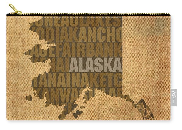 Alaska Word Art State Map On Canvas Carry-all Pouch