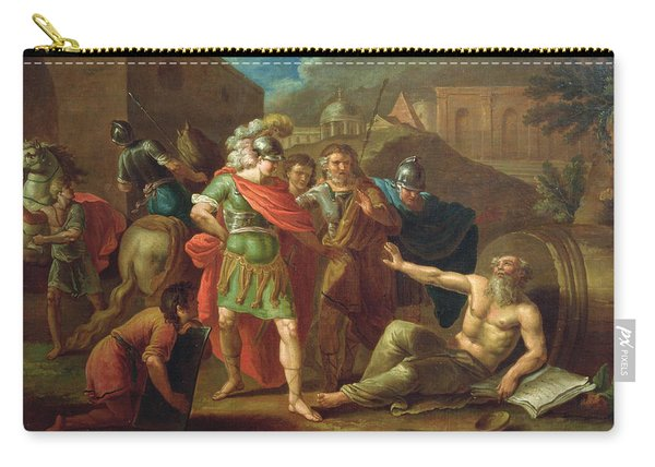 Alexander The Great Visits Diogenes At Corinth, 1787 Oil On Canvas Carry-all Pouch