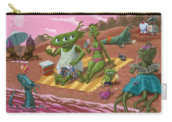 Carry-all Pouch featuring the painting Alien Beach Vacation by Martin Davey
