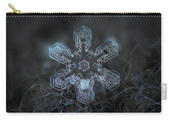 Carry-all Pouch featuring the photograph Snowflake Photo - Alioth by Alexey Kljatov