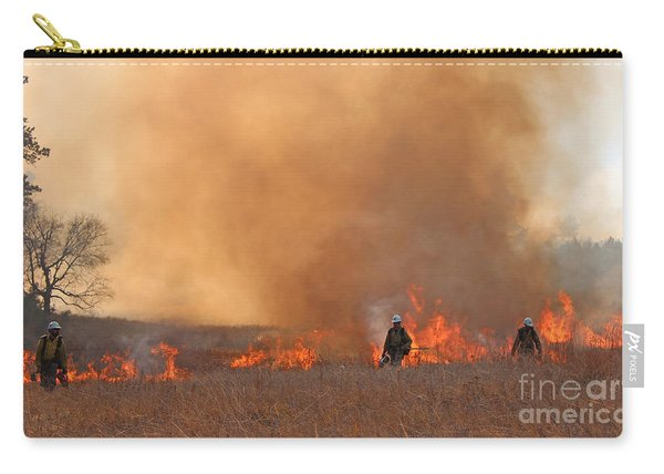 Carry-all Pouch featuring the photograph Alpine Hotshots Ignite The Norbeck Prescribed Fire. by Bill Gabbert