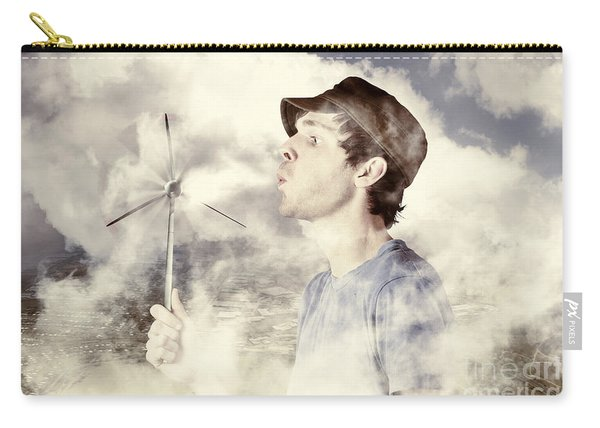 Alternative Energy Man With Wind Power Solution Carry-all Pouch