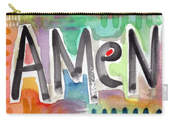 Amen- Colorful Word Art Painting Carry-all Pouch