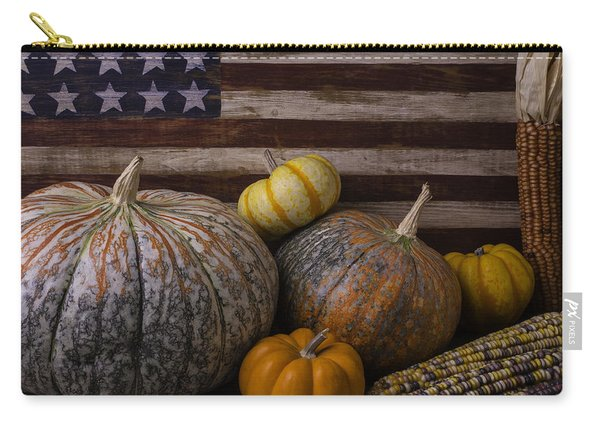 American Flag Autumn Still Life Carry-all Pouch