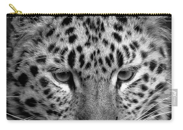 Amur Leopard In Black And White Carry-all Pouch