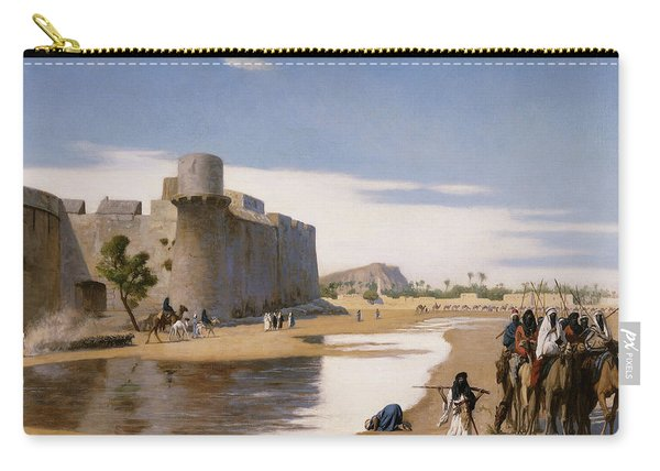 An Arab Caravan Outside A Fortified Town Carry-all Pouch