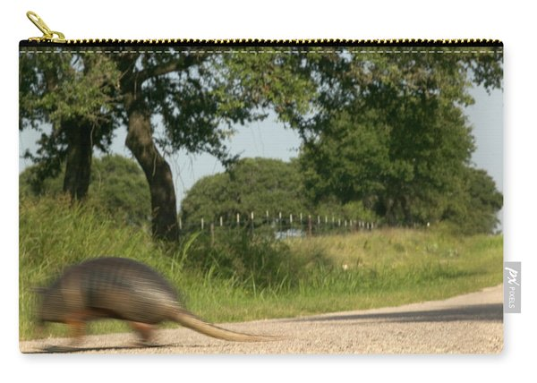 An Armadillo Makes A Dash To Cross Carry-all Pouch