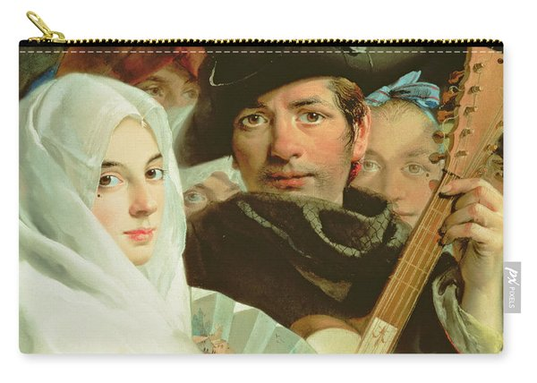 An Elegant Couple From Madrid, C.1770 Oil On Canvas Carry-all Pouch