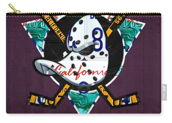 Anaheim Ducks Hockey Team Retro Logo Vintage Recycled California License Plate Art Carry-all Pouch