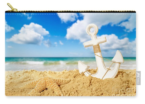Anchor At The Beach Carry-all Pouch