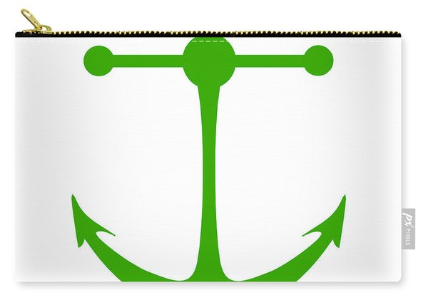 Anchor In Green And White Carry-all Pouch