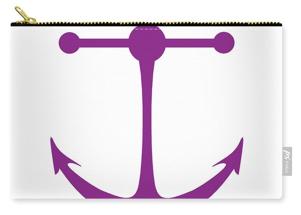 Anchor In Purple And White Carry-all Pouch
