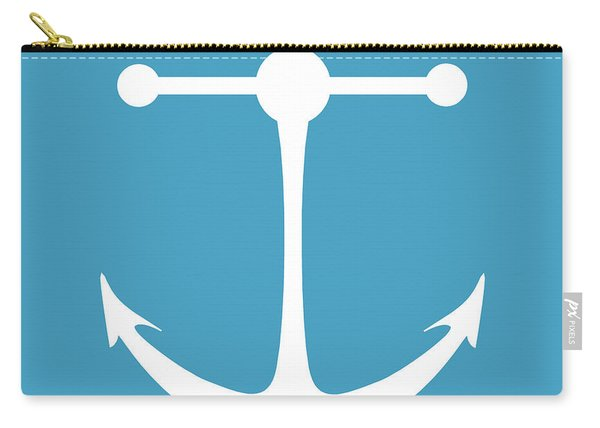Anchor In White And Turquoise Blue Carry-all Pouch