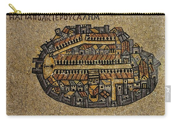 Ancient Jerusalem Mosaic Map Color Framed Carry-all Pouch
