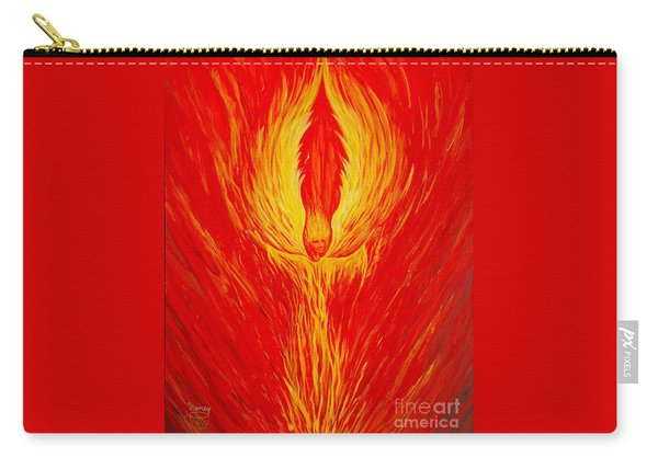 Carry-all Pouch featuring the painting Angel Fire by Nancy Cupp