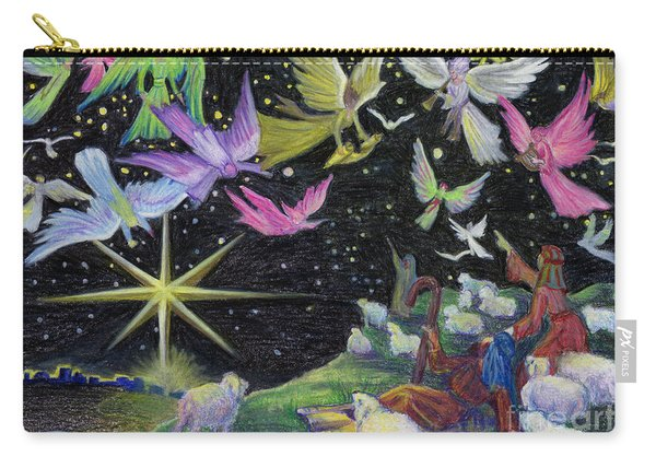 Carry-all Pouch featuring the painting Angel Skies by Nancy Cupp
