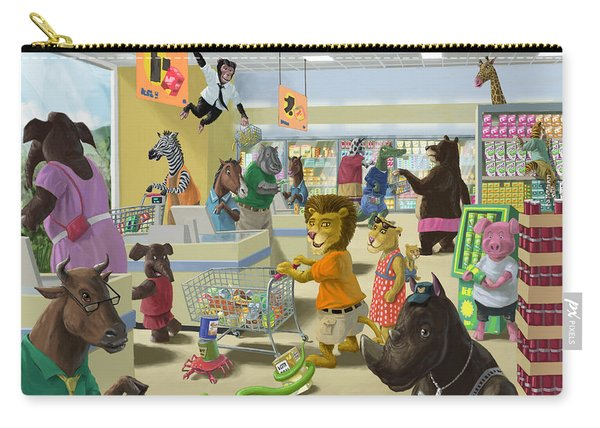 Carry-all Pouch featuring the painting Animal Supermarket by Martin Davey