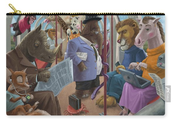 Carry-all Pouch featuring the painting Animals On A Tube Train Subway Commute To Work by Martin Davey