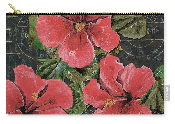Antique Hibiscus Black 3 Carry-all Pouch