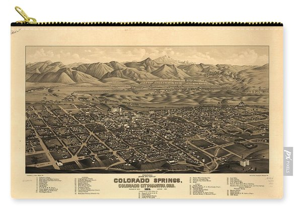 Antique Map Of Colorado Springs And Manitou - 1882 Carry-all Pouch