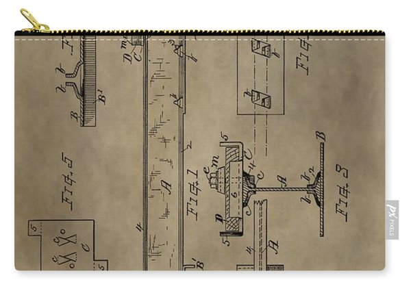 Antique Railroad Tie Patent Carry-all Pouch