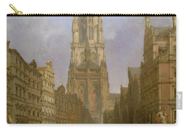 Antwerp Cathedral, 1860 Oil On Canvas Carry-all Pouch