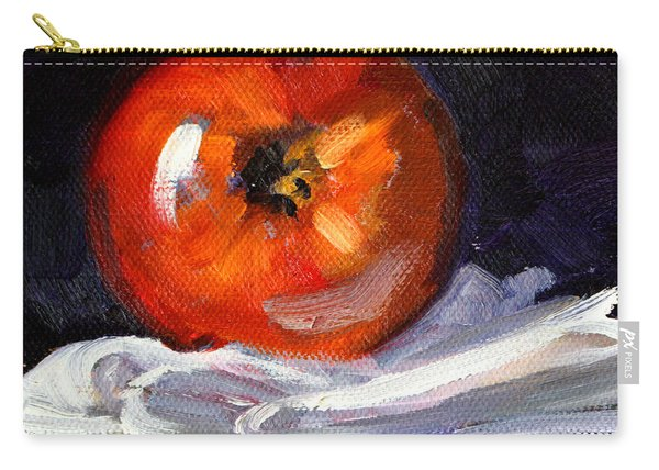 Apple On Linen Carry-all Pouch