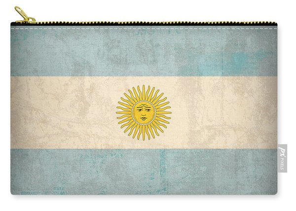 Argentina Flag Vintage Distressed Finish Carry-all Pouch