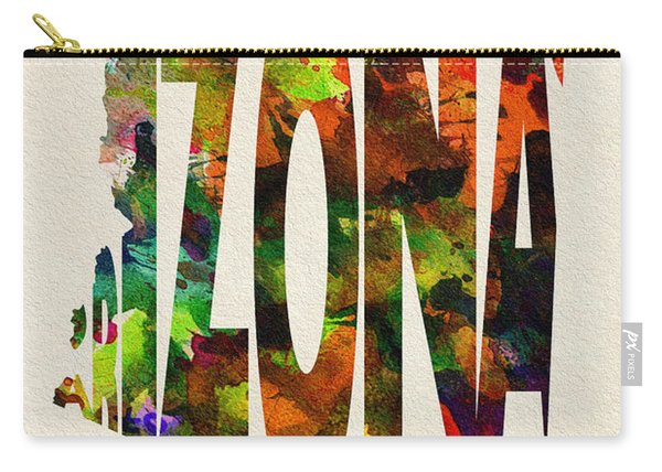 Arizona Typographic Watercolor Map Carry-all Pouch