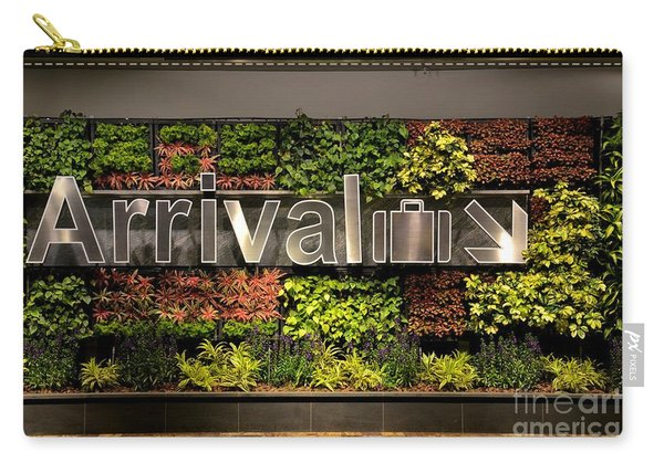 Arrival Sign Arrow And Flowers At Singapore Changi Airport Carry-all Pouch