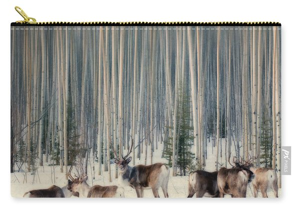 Caribou And Trees Carry-all Pouch