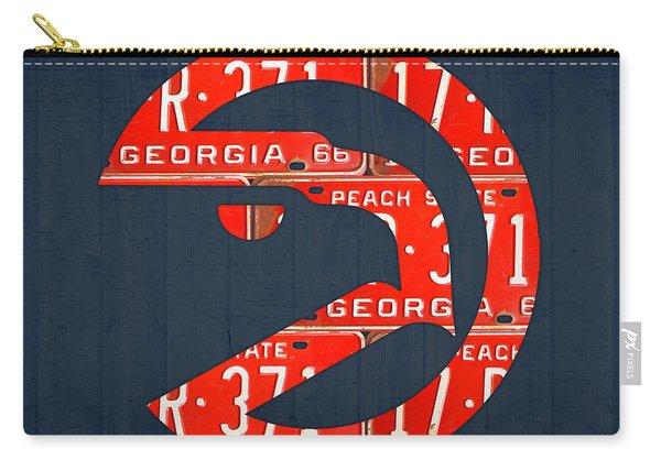 Atlanta Hawks Basketball Team Retro Logo Vintage Recycled Georgia License Plate Art Carry-all Pouch