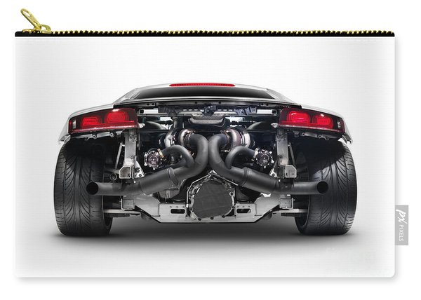 Audi Quattro R8 Turbo Sports Car Rear View With Exposed Engine Carry-all Pouch