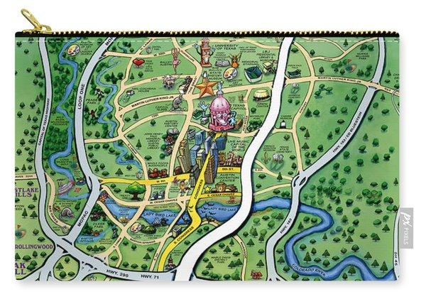 Austin Tx Cartoon Map Carry-all Pouch