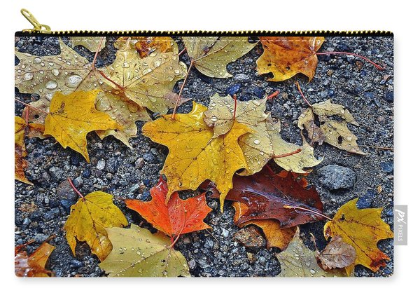 Autumn Leaves In Rain Carry-all Pouch