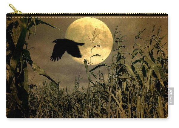 Crow Flies Past The Harvest Moon Carry-all Pouch