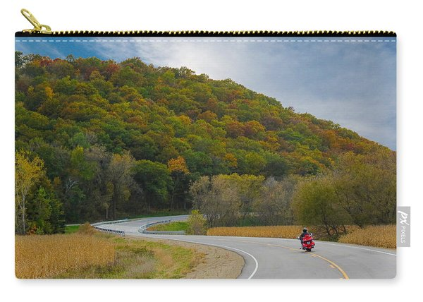 Autumn Motorcycle Rider / Orange Carry-all Pouch