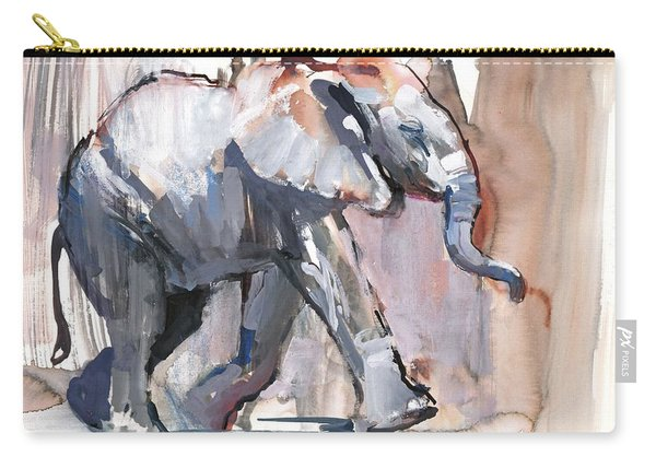 Baby Elephant, 2012 Mixed Media On Paper Carry-all Pouch
