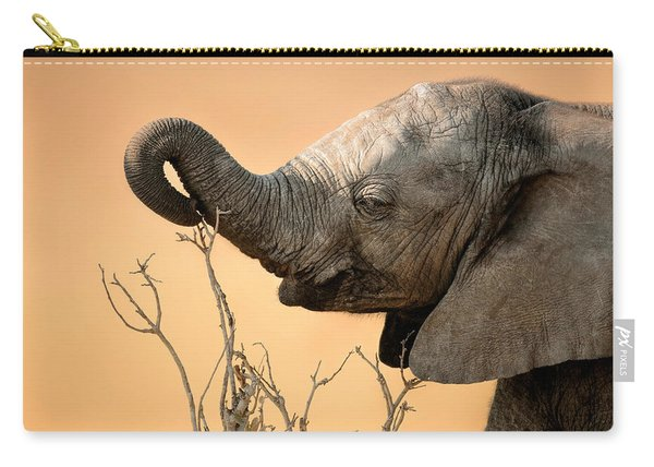 Baby Elephant Reaching For Branch Carry-all Pouch