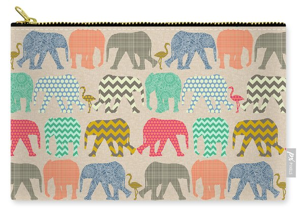 Baby Elephants And Flamingos Linen Carry-all Pouch