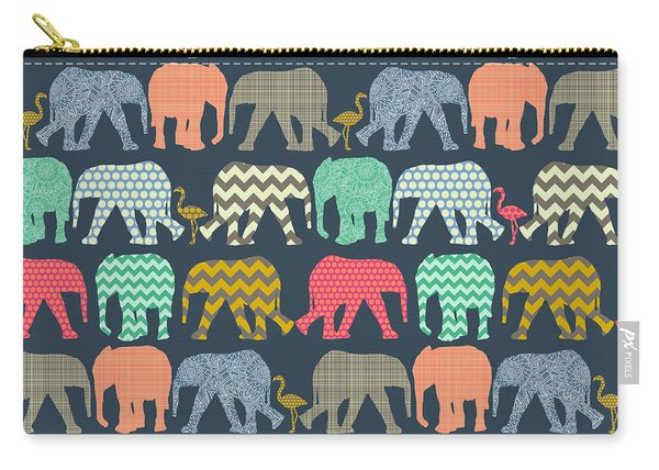 Baby Elephants And Flamingos Carry-all Pouch