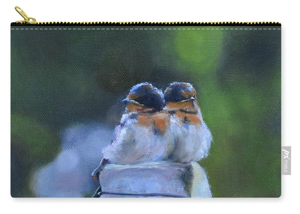 Baby Swallows On Post Carry-all Pouch