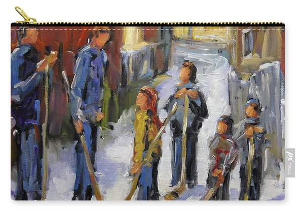 Back Lane Hockey The Stand Off By Prankearts Carry-all Pouch