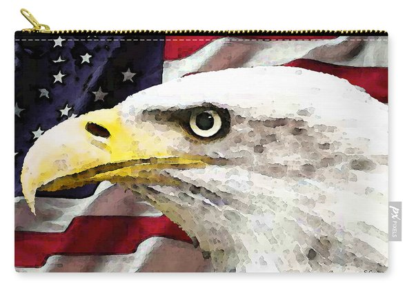 Bald Eagle Art - Old Glory - American Flag Carry-all Pouch